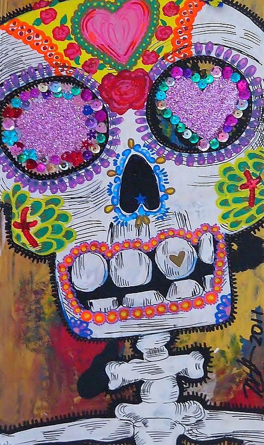 Day Of The Dead Skeleton  Mixed Media