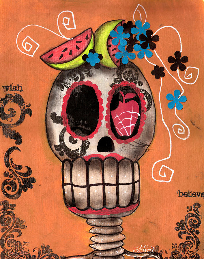 Day Of The Dead Watermelon Painting  - Day Of The Dead Watermelon Fine Art Print