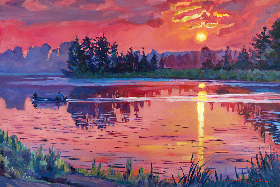 Landscape Painting - Daybreak Reflection by David Lloyd Glover