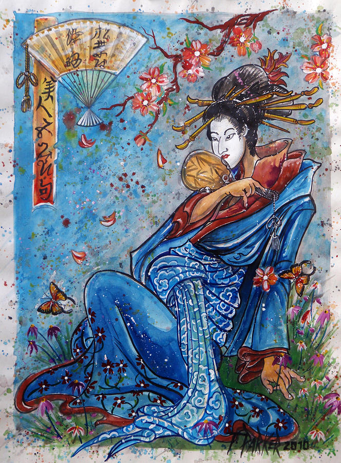 Oriental Art Drawing - Daydream by Timothy Parker