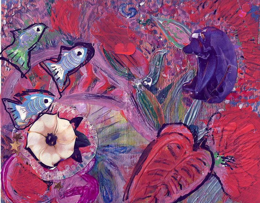 De Bear No Lookee De Fish Get Wey Painting