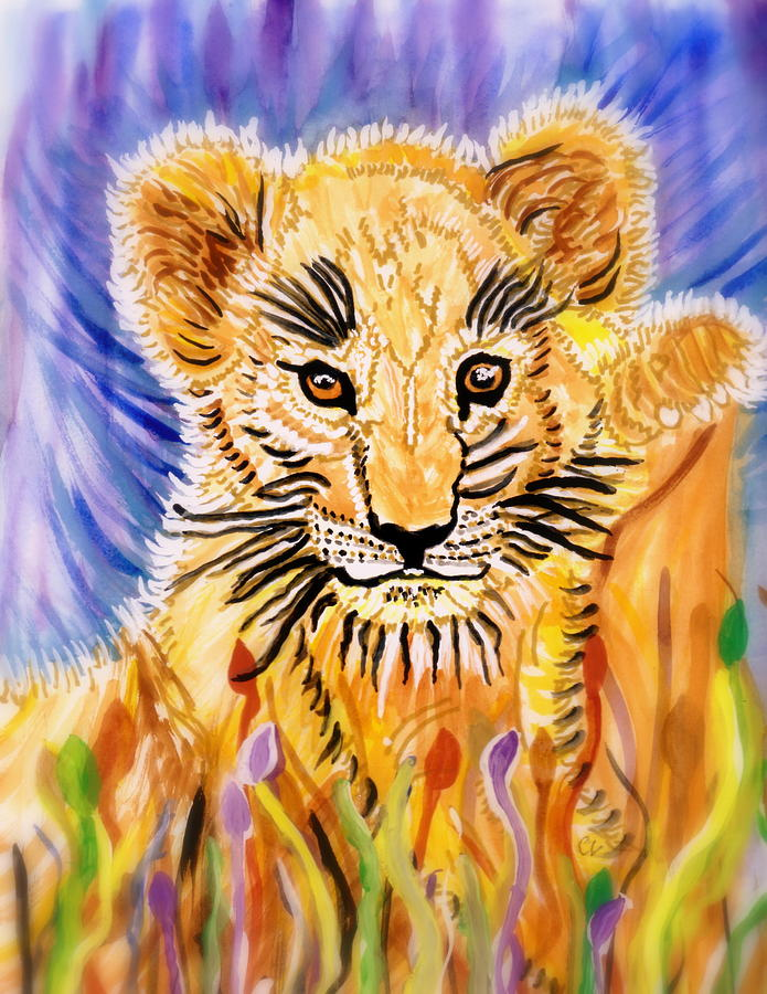 White African Lion Paintings Colorful Lion Paintings