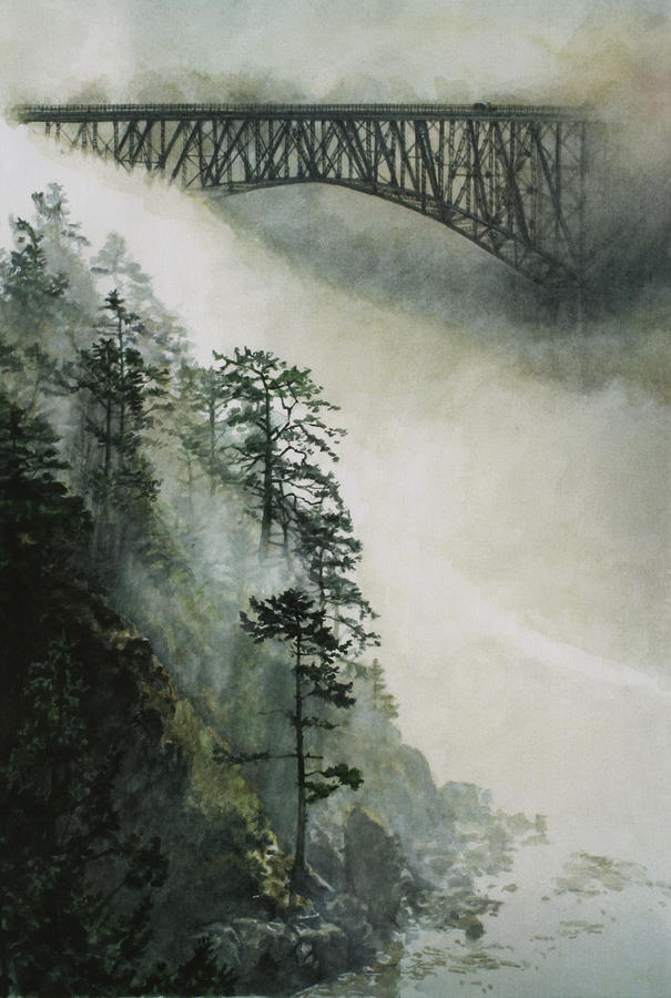 Deception Pass Fog Painting  - Deception Pass Fog Fine Art Print