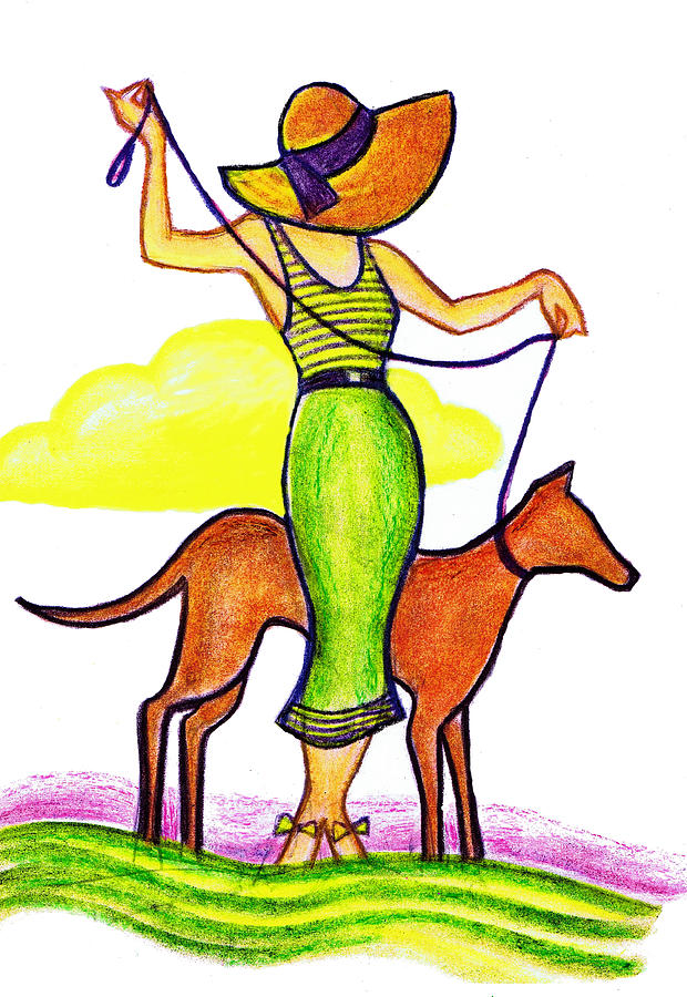 Deco Dog Walker Drawing  - Deco Dog Walker Fine Art Print
