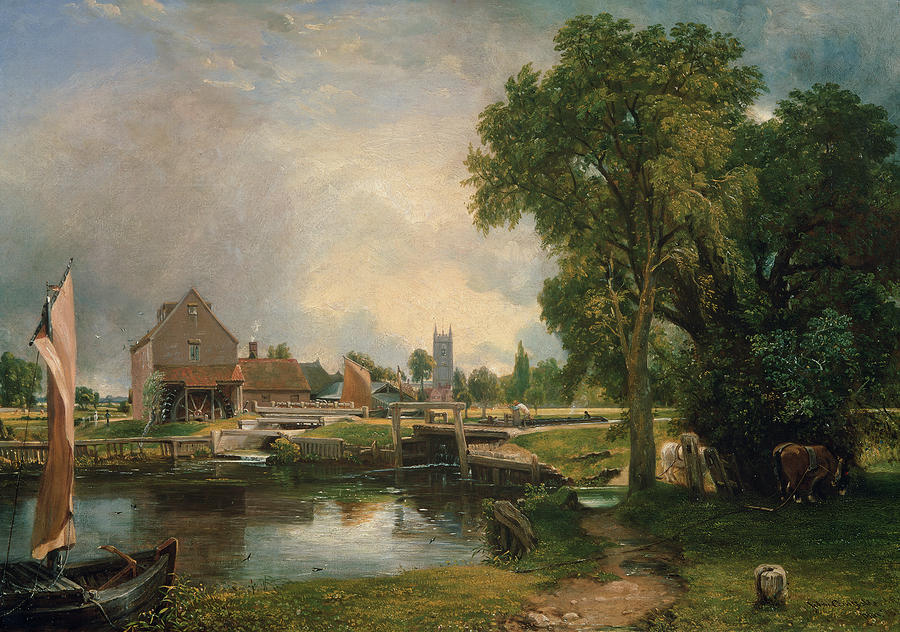 Dedham Lock And Mill Painting  - Dedham Lock And Mill Fine Art Print