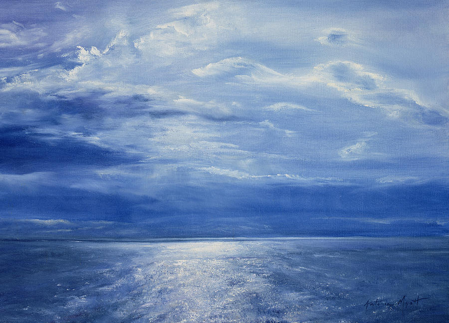 Sky; Evening; Night; Nocturne; Moonlight; Reflection; Water; Horizon; Atmospheric; Ocean; Seascape; Blue Sea; Sea Painting - Deep Blue Sea by Antonia Myatt