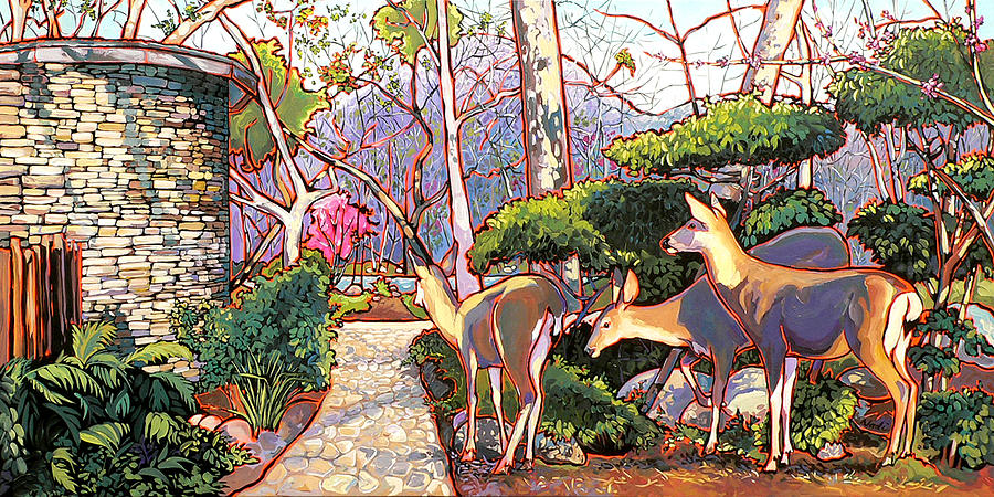 Deer In Baer Garden Painting  - Deer In Baer Garden Fine Art Print
