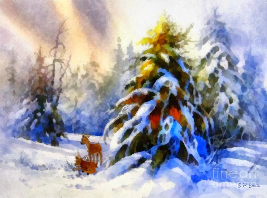 Deer Painting - Deer In The Snowy Woods by Elizabeth Coats