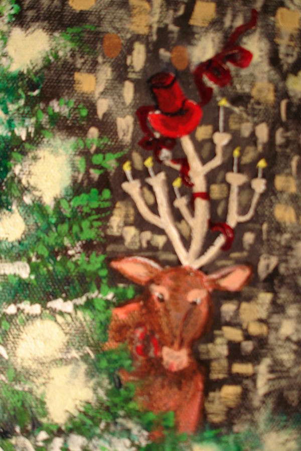 Deer Painting - Deer Ready For A Party by Lisa Kramer