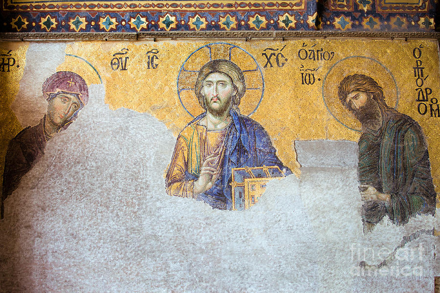 Deesis Mosaic Of Jesus Christ Photograph  - Deesis Mosaic Of Jesus Christ Fine Art Print