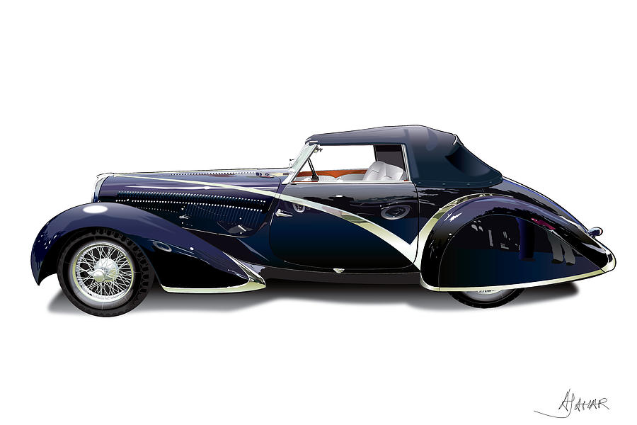 Delahaye On White Digital Art  - Delahaye On White Fine Art Print
