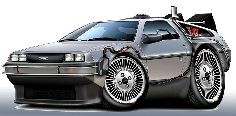 Delorean Back To The Future Digital Art