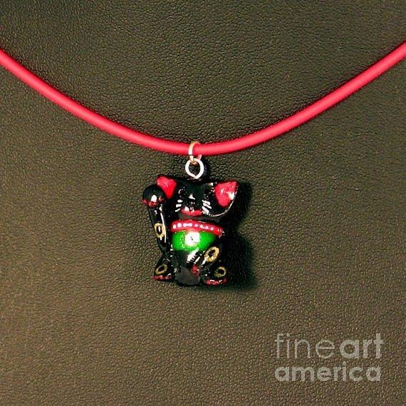 Match Your Pet Jewelry - Deluxe Hand Painted Black Maneki Neko Lucky Beckoning Cat Necklace by Pet Serrano