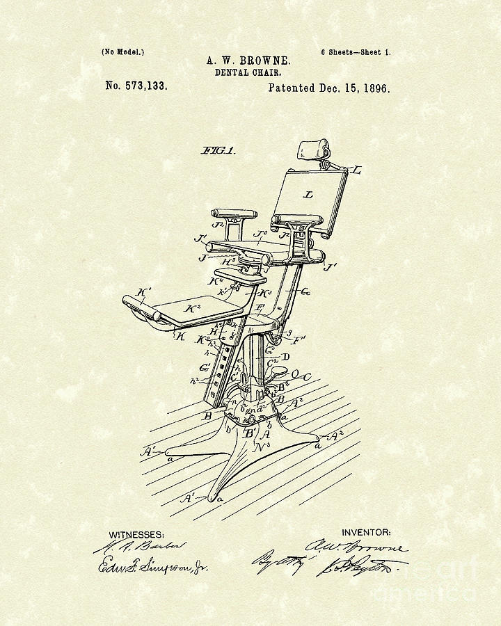 Dental Chair 1896 Patent Art Drawing  - Dental Chair 1896 Patent Art Fine Art Print