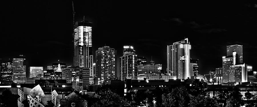 Denver At Night In Black And White Photograph