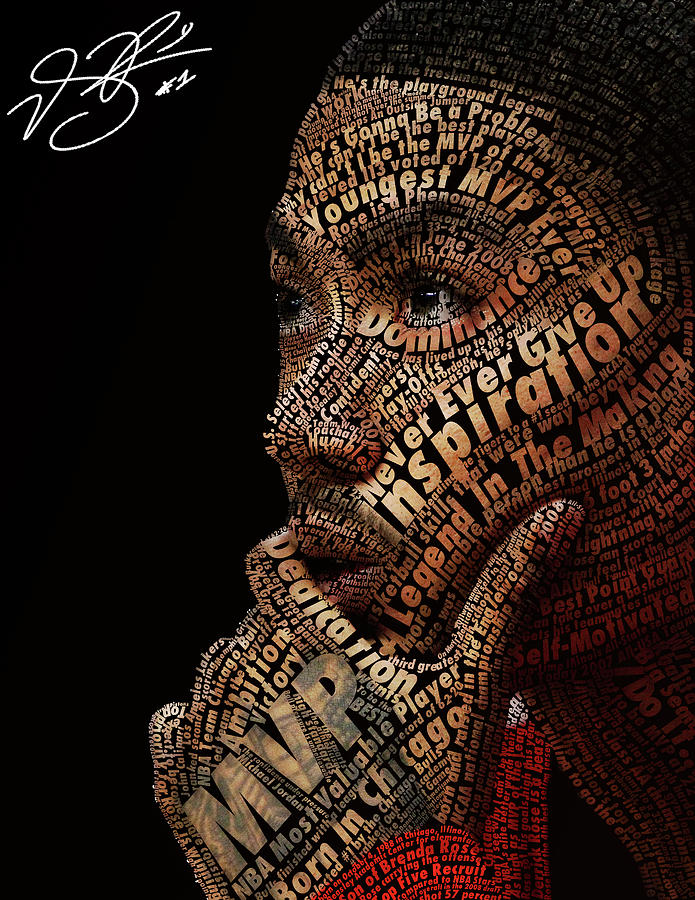 Derrick Rose Typeface Portrait Digital Art  - Derrick Rose Typeface Portrait Fine Art Print