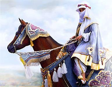 Desert Arabian Native Costume Horse And Girl Rider Painting