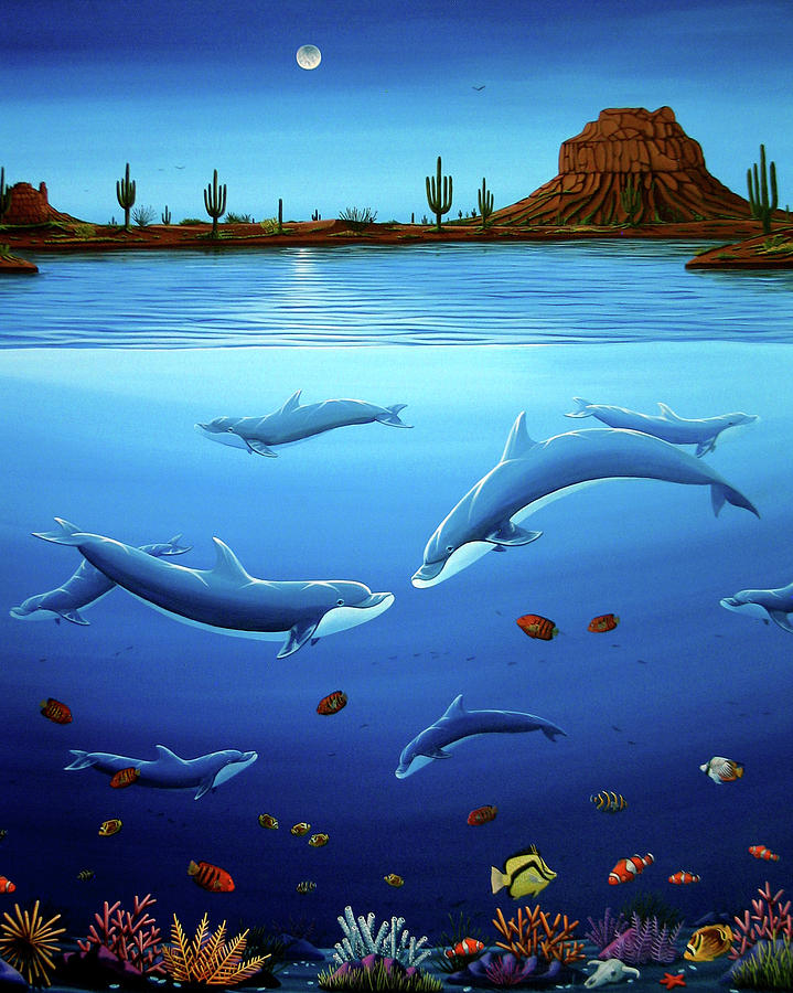 Desert Dolphins Close  Painting