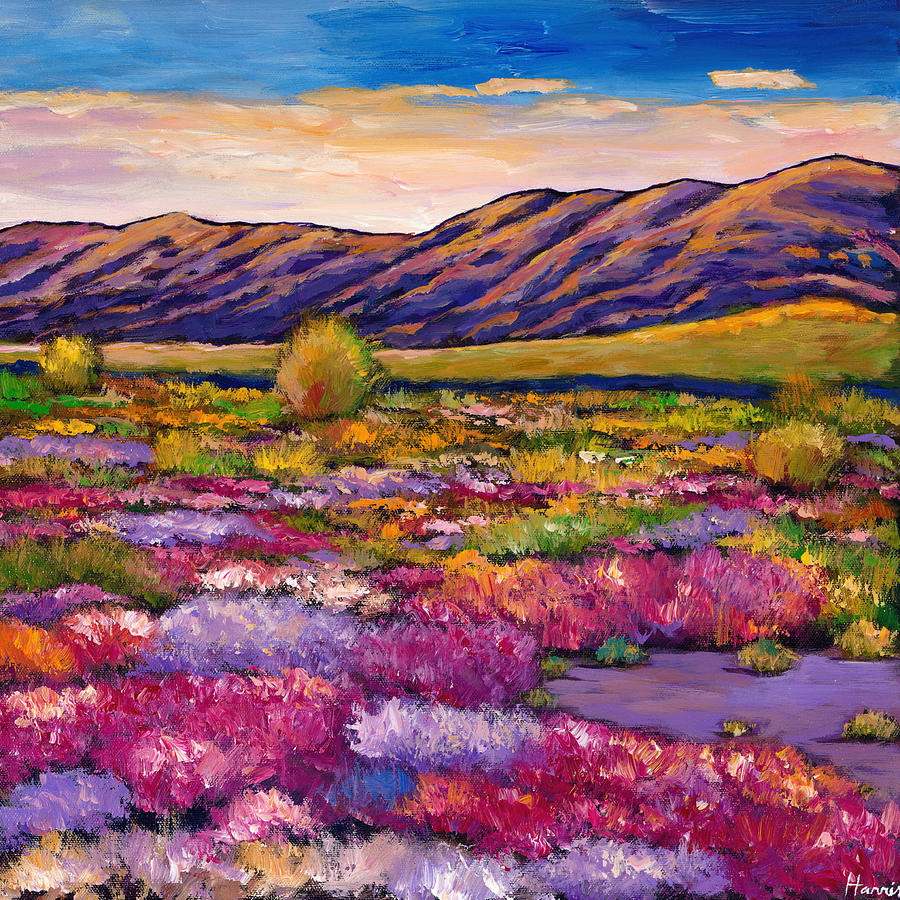 Desert In Bloom Painting  - Desert In Bloom Fine Art Print