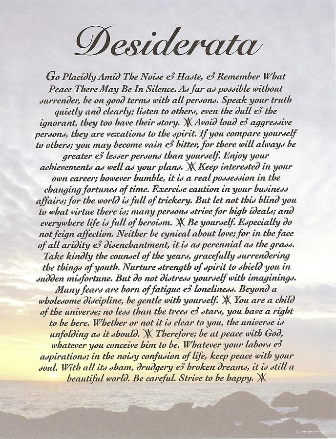 Desiderata 8 Digital Art  - Desiderata 8 Fine Art Print