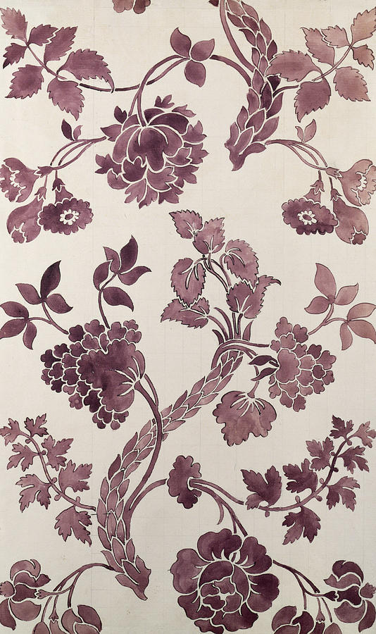 Design For A Silk Damask Tapestry - Textile  - Design For A Silk Damask Fine Art Print