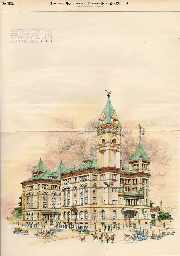 Design Of Bexar County Court House. San Antonio Tx. 1894 Painting  - Design Of Bexar County Court House. San Antonio Tx. 1894 Fine Art Print