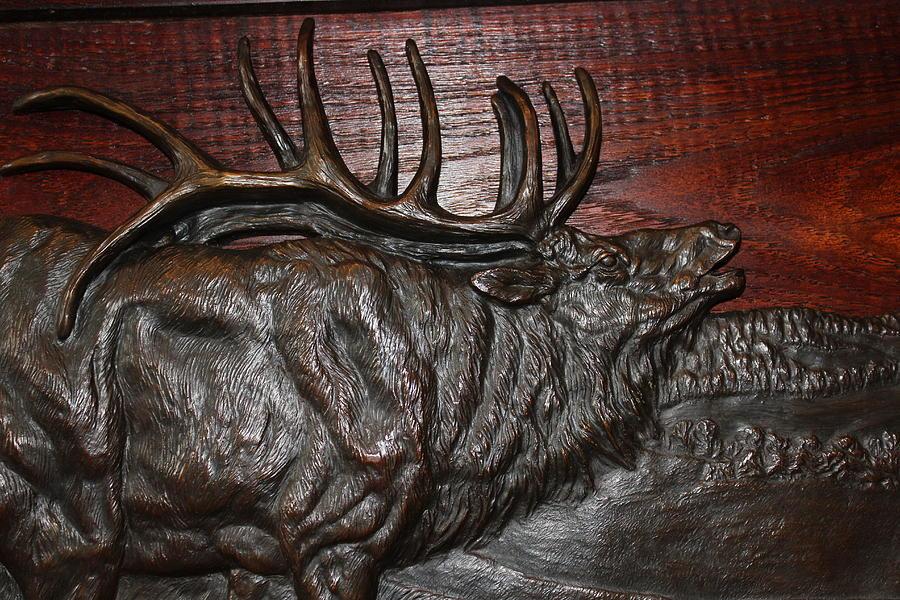 Detail Of Elk Relief Sculpture