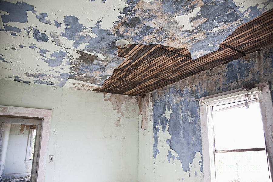 Deteriorating Ceiling In An Abandoned House Photograph