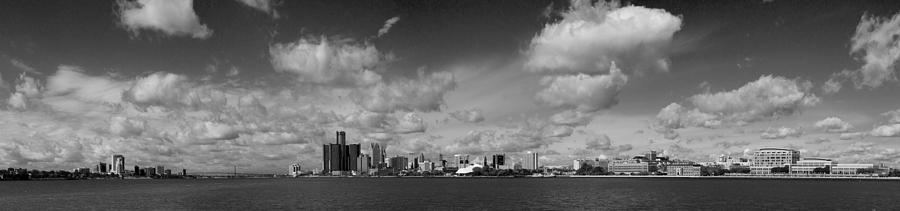 Detroit Skyline In Black And White Photograph