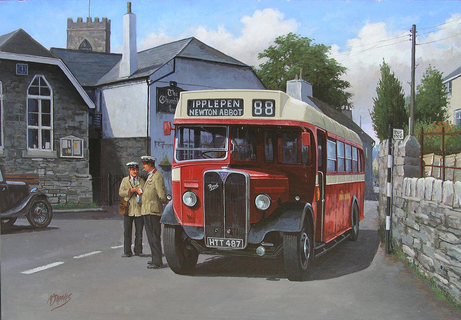 Devon General Aec Regal. Painting  - Devon General Aec Regal. Fine Art Print