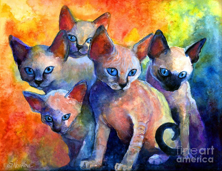 Devon Rex Kittens Painting  - Devon Rex Kittens Fine Art Print