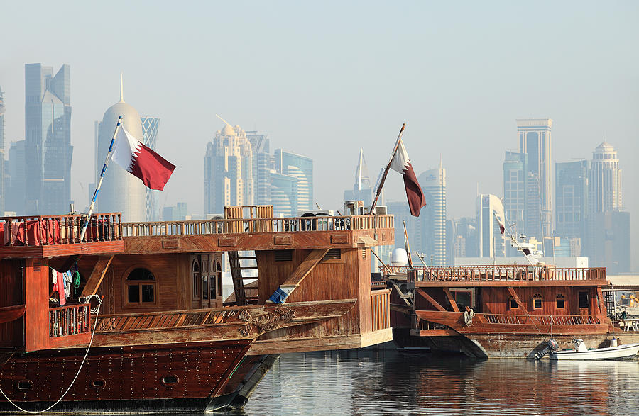 Dhows And Doha Skyline Photograph  - Dhows And Doha Skyline Fine Art Print