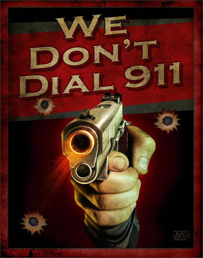 Wildlife 911 Emergency Dial Gun Pistol Hunting Security Armed Shoot Shooting Ammo Shells 45 Forty Five Weapon Hand Painting - Dial 911 by JQ Licensing