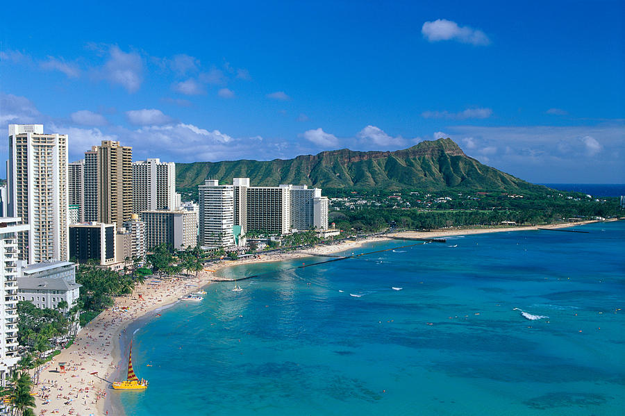 Diamond Head And Waikiki Photograph