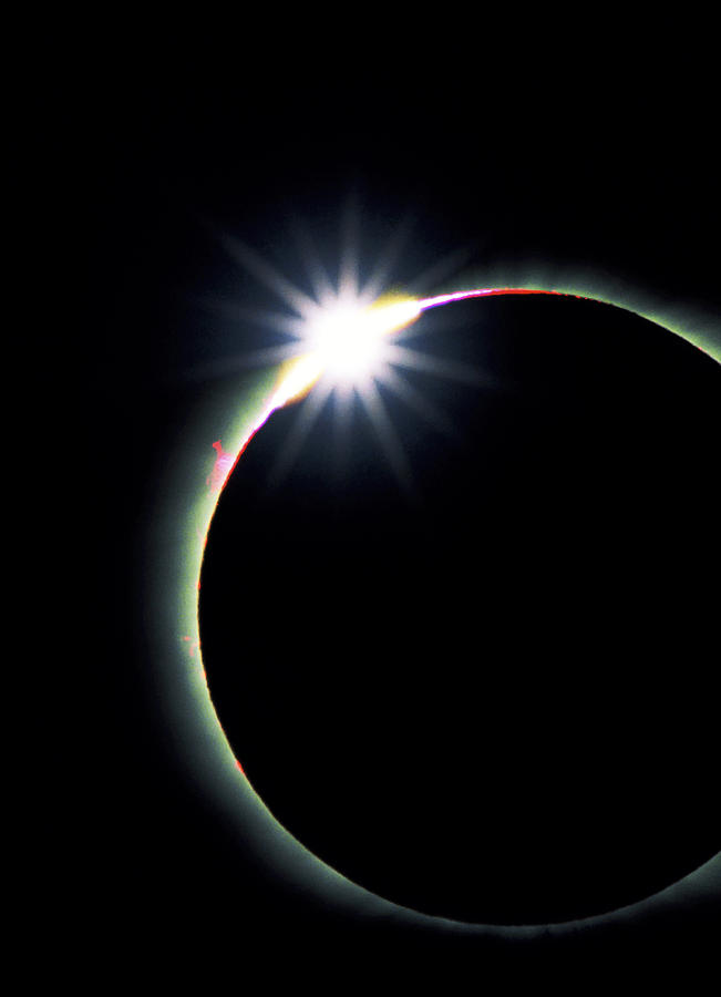 Diamond Ring Effect During Solar Eclipse Photograph