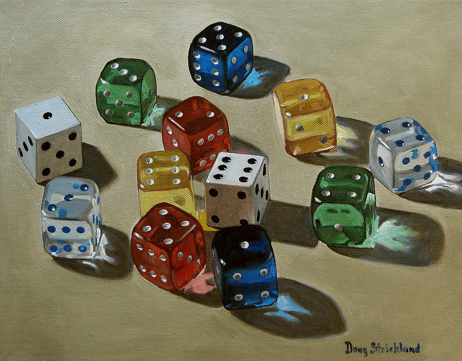 Dice Painting  - Dice Fine Art Print