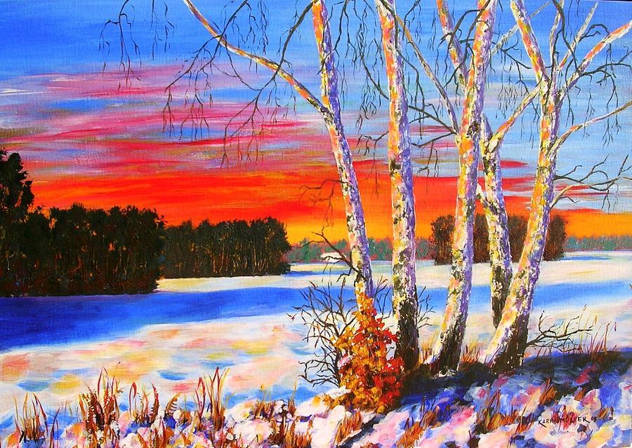 Abendrot Painting - die blauen Schatten by Karin Mueller