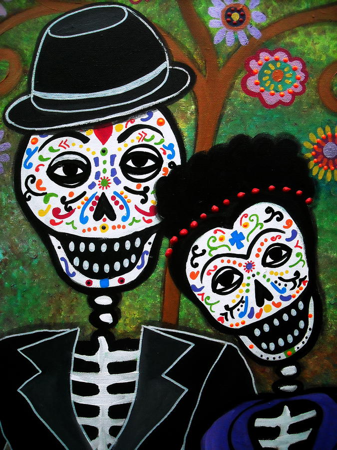Diego and frida painting by pristine cartera turkus for Diego rivera day of the dead mural