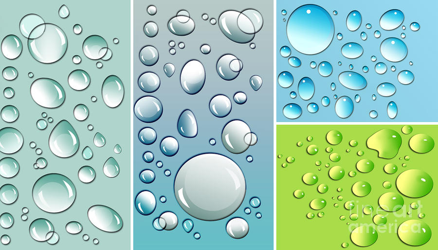 Different Size Droplets On Colored Surface Digital Art  - Different Size Droplets On Colored Surface Fine Art Print