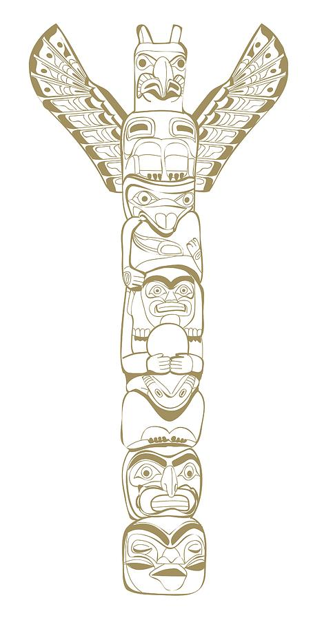 Digital illustration of north american tribal totem pole for Totem pole design template