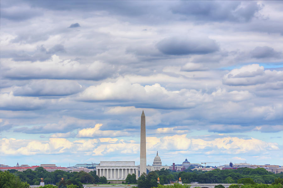 Digital Liquid - Clouds Over Washington Dc Digital Art  - Digital Liquid - Clouds Over Washington Dc Fine Art Print