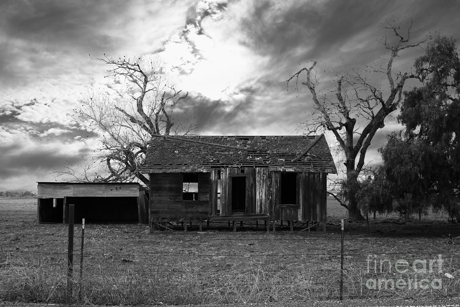 Black And White Photograph - Dilapidated Old Farm House . 7d10341 . Black And White by Wingsdomain Art and Photography