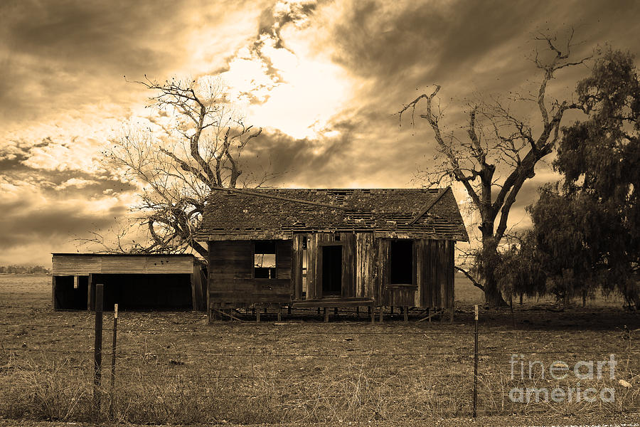 Dilapidated Old Farm House . 7d10341 . Sepia Photograph