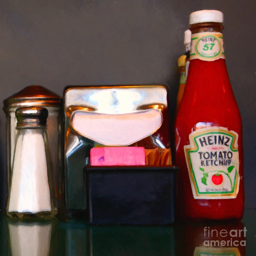 Diner Table Condiments And Other Items - 5d18035- Painterly Photograph