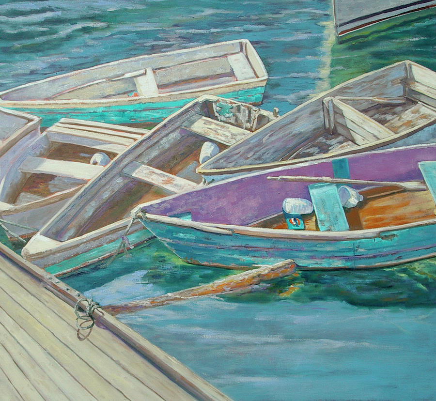 Dinghies All Tied Up Painting  - Dinghies All Tied Up Fine Art Print