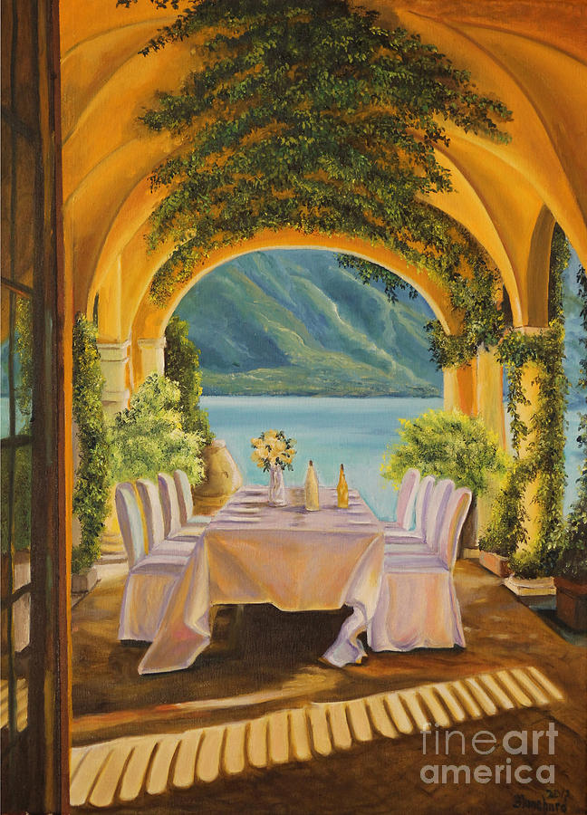 Dining On Lake Como Painting