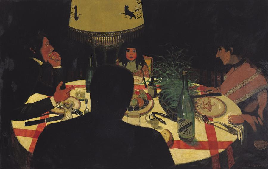 Dinner By Lamplight Painting