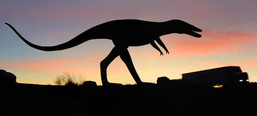 Dinosaur Loose On Route 66 Photograph