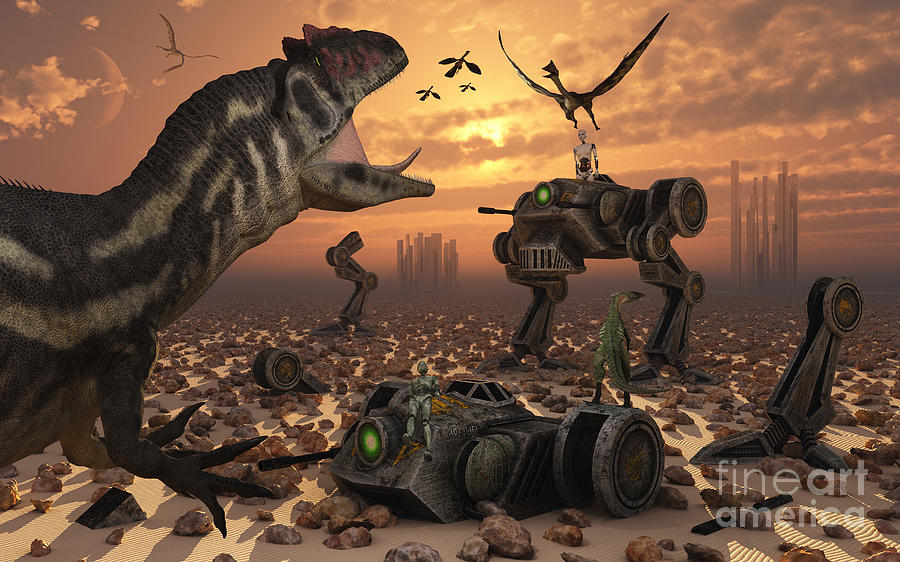 Dinosaurs And Robots Fight A War Digital Art  - Dinosaurs And Robots Fight A War Fine Art Print