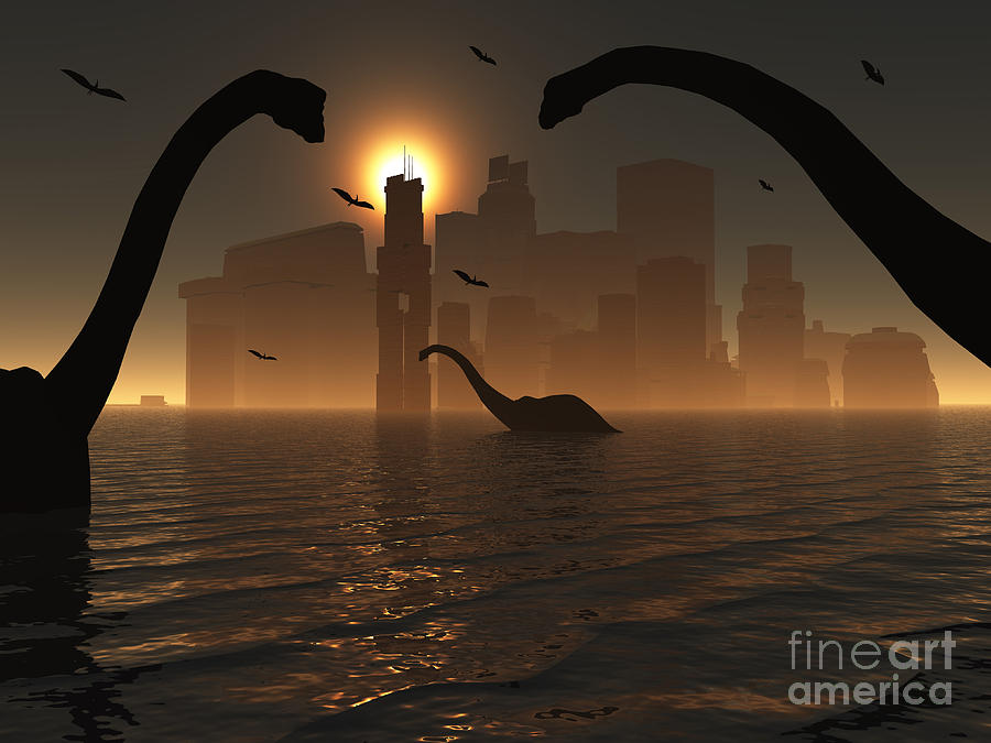 Dinosaurs Feed Near The Shores Digital Art  - Dinosaurs Feed Near The Shores Fine Art Print